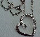 Pretty Rhinestone Stylized Heart Necklace