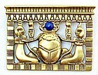 Egyptian Revival Brooch with Imitation Lapis Stone