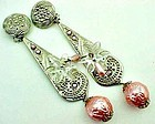"""Fabulous Pink and Silver Colored Earrings - 5"""" Long"""