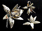 Lovely Taxco Sterling Orchid Demi-Parure