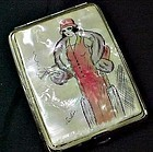 Art Deco Artist Signed Hand Painted MOP Cigarette Case