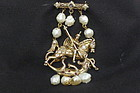 1930s St. George and the Dragon Brooch - Vermeil