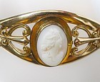 Victorian Rose Gold Hinged Bangle with Shell Cameo