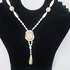 Czech Glass Egyptian Revival Flapper Necklace