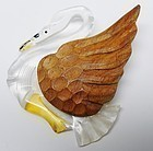 "1930's Lucite and Wood Swan Brooch - ""Art Deco"