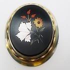 Victorian Gold Fill Large Pietra Dura Brooch