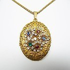 Miriam Haskell Fancy Rhinestone Locket Necklace