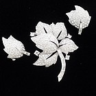 Jomaz Rhinestone Leaf Pin and Earring Set.