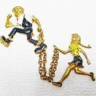 Lil' Abner & Daisy Mae Chatelaine Brooch - 1940s