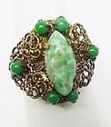 Art Deco Czech Fancy Jadite Ring