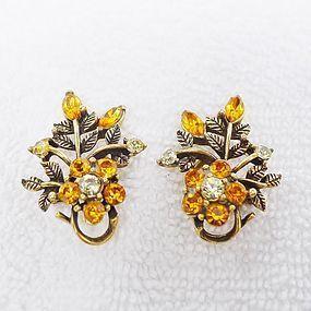 "Coro Sparkling Orange ""Rhinestone Earrings - Halloween"
