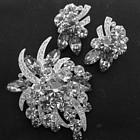 Eisenberg Gray and Clear Rhinestone Pin and Earrings