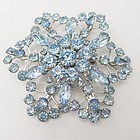 "Huge Blue Rhinestone Brooch-3 1/4"" Diameter"