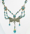 Art Deco Butterfly Necklace with foiled stones