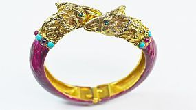 Rare Richelieu Hinged Bangle Bracelet