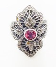 Art Deco Sterling Marcasite Ring with Rose Glass Stone