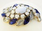Brooch - Large Shades of Blue Rhinestones - some Givre