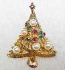 Sparkling Colorful Christmas Tree Pin