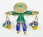 Adorable Flower Seller Figural Brooch - Colorful