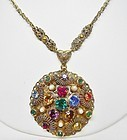 West German Chain Necklace with Colorful Pendant