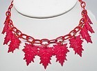 1930s Red Celluloid Leaf Necklace and chain