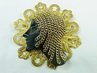 Art Deco Dame Pin with Golden Chain Hair