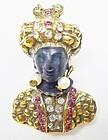 Miniature Hattie Carnegie Jeweled Blackamoor Brooch