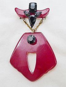 Western Theme Bakelite and Black Glass Brooch