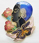 Fairly Contemporary Flapper Among Flowers Brooch