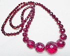 Art Deco Cherry Amber Bakelite Graduated Beads - 27""