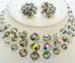 Sparkling Aurora Borealis Necklace and Earrings set