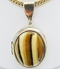Large Tiger Striped Gold Colored Picture Locket