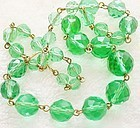 Beautiful Faceted Green Glass Bead Necklace