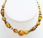 Lovely String of Glass Graduated Tiger's Eye Beads