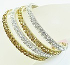 Four Lovina Rhinestone Bracelets - Amber and Clear NWT