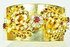 Wide GoldTone Bracelet with Red & Clear Rhinestones
