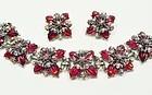Red Molded Glass & Rhinestone Bracelet and Earrings