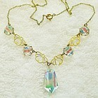 Art Deco Rainbow Crystal Drop Necklace