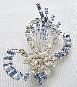 Star Art Sterling Free Form Blue/ Clear Rhinestone Pin
