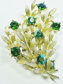 Brooch with Golden Leaves & Green Rhinestone Flowers