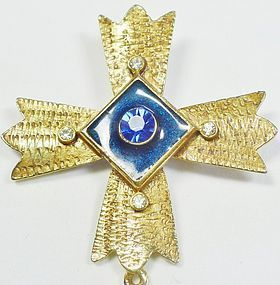 Pisces Maltese Cross Brooch With Rhinestones