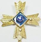 Pisces Maltese Cross Brooch With Rhinestones