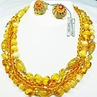 Hattie Carnegie Topaz Bead Demi-Parure - With Tags