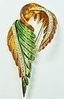 Large Hattie Carnegie Enamel and Rhinestone Leaf Brooch