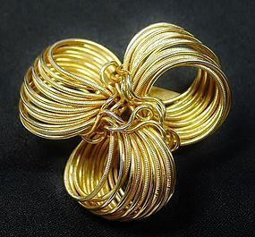 Hobe Gold Toned Unusual Wire Brooch
