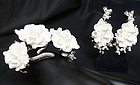 Oscar de la Renta Flowered Hinged Bangle and Earrings