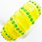 Sparkle Bracelet - Soft Yellow Plastic with Green Sparklers