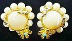 Hattie Carnegie Flowered Clip Earrings