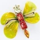 Oscar de la Renta Colorful Butterfly Brooch