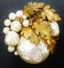 Miriam Haskell Faux Pearl Brooch